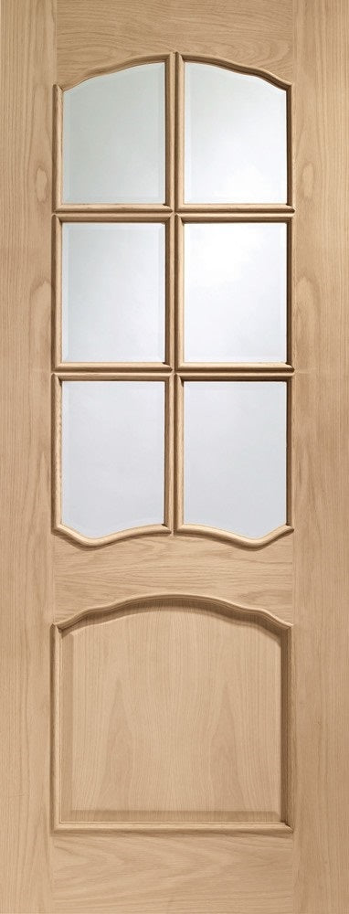 Riviera Oak with bevelled glass and raised mouldings