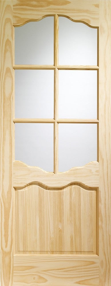 Riviera clear pine door with clear glass.