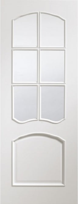 Riveiera prefinished white Internal Door with bevelled glass.