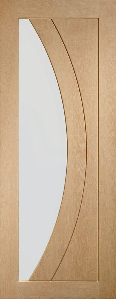 Pattern 10 1 Light Oak Internal door, Unfinished Frosted Glass