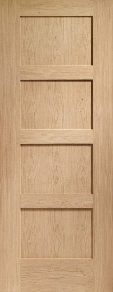 Shaker 4 panel oak fire door, prefinished.