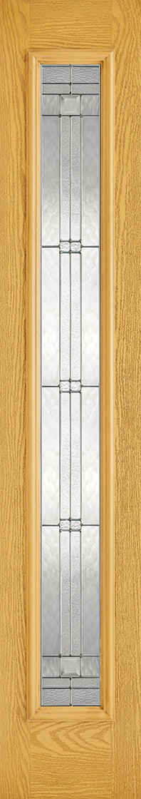 Oak sidelight , elegant glass.