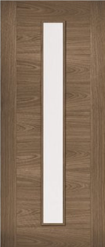 Sophia prefinished walnut internal door with clear glass.
