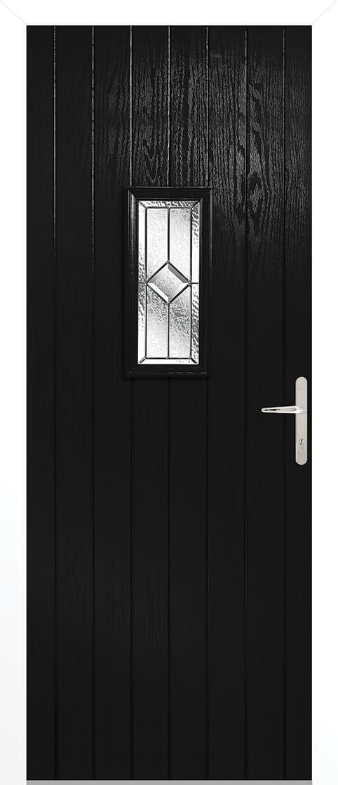 Speedwell Black Composite Doorset With White Frame