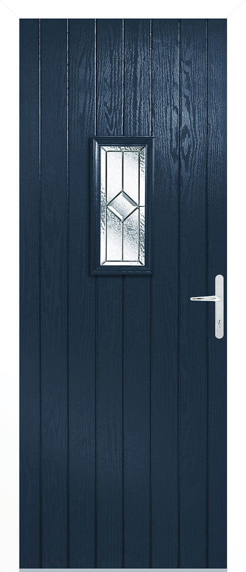 Speedwell Blue Composite Doorset With White Frame
