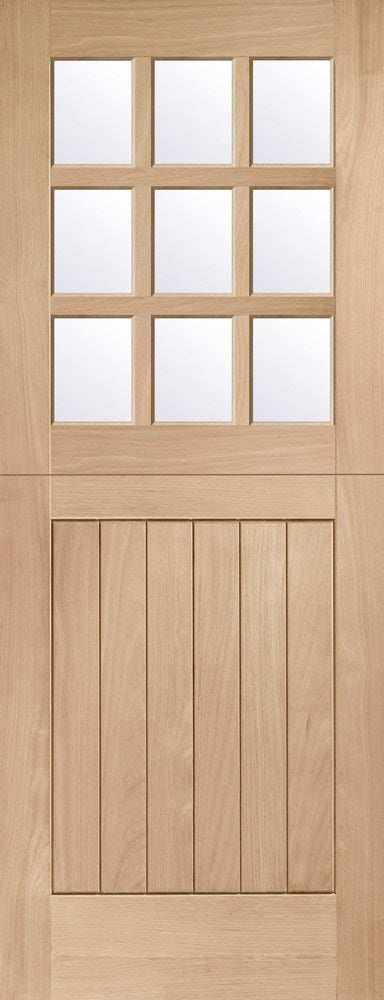Oak stable door 9 light clear glass, double glazed.