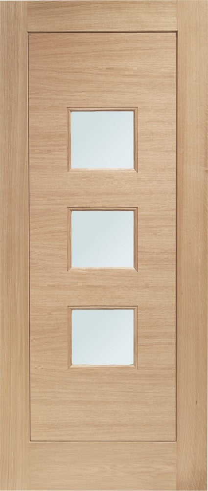 Turin Obscure Glass external Oak Door, Double Glazed