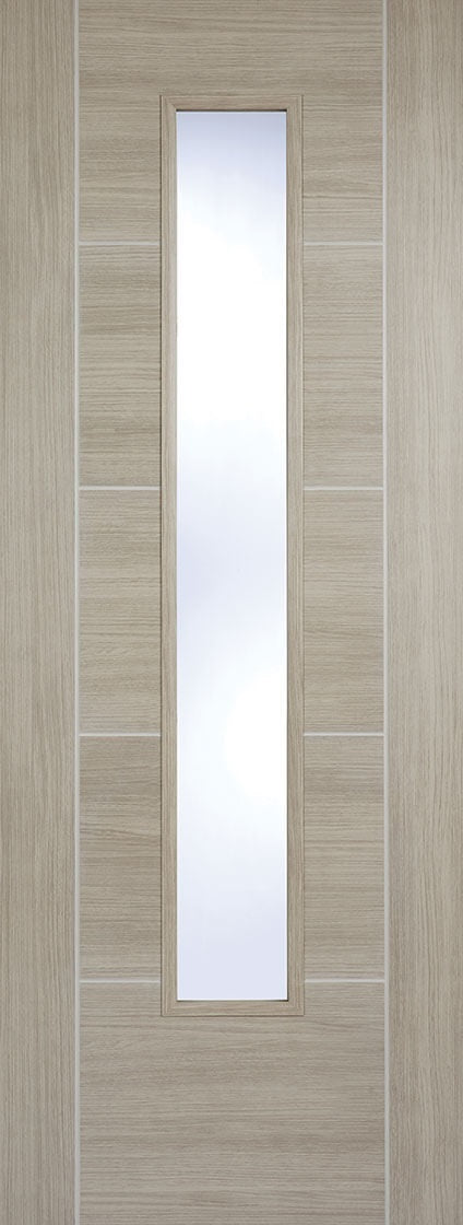 Vancouver light grey laminate internal door with clear glass.