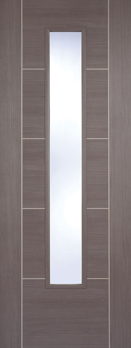 Vancouver medium grey laminate internal door with clear glass.
