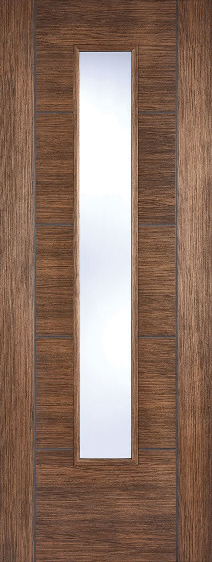 Vancouver walnut laminate internal door, with clear glass.