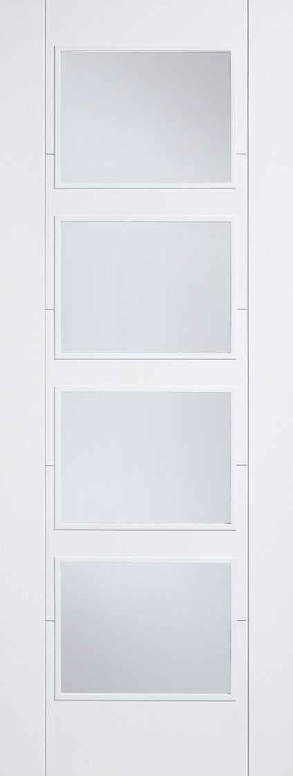 Pattern 10 Primed White Internal Door, Clear Glass L