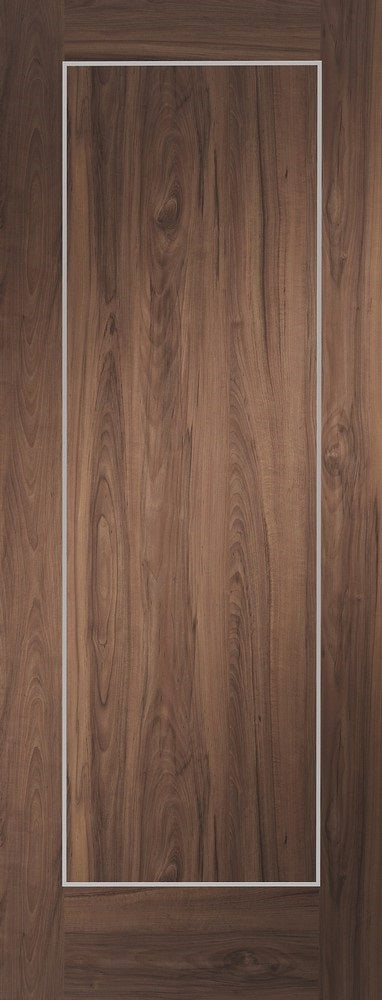 Varese walnut fire door with aluminium inlays.