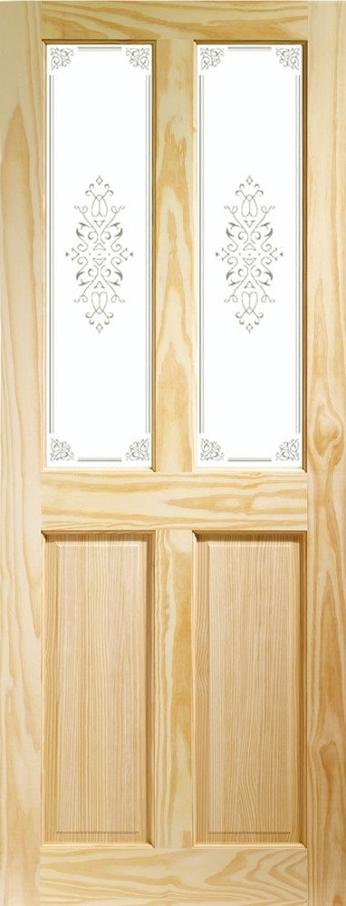 Victorian 4 panel clear pine door with campion glass.