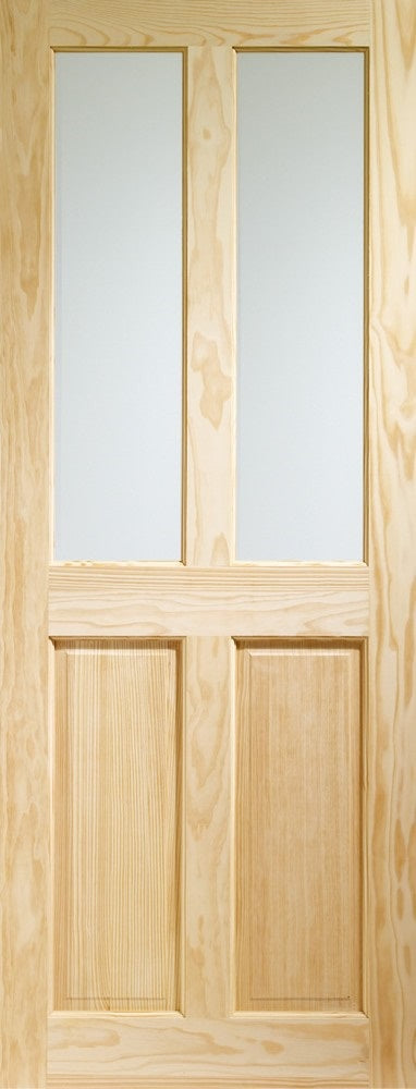 Victorian 4 panel clear pine internal door with clear glass.