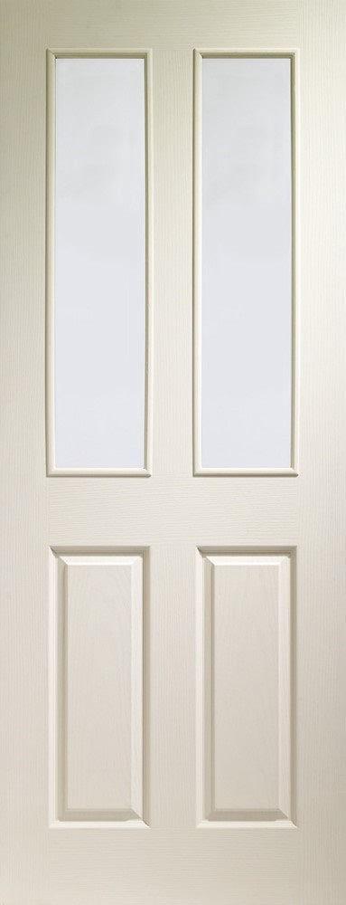Victorian 4 panel door with clear glass. white textured finish.