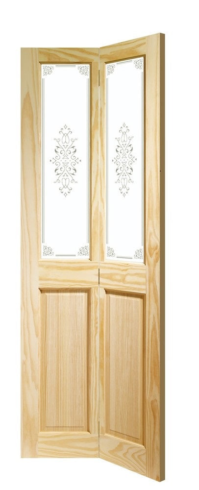 Lincoln 2 Light unfinished Oak clear glass Bifold