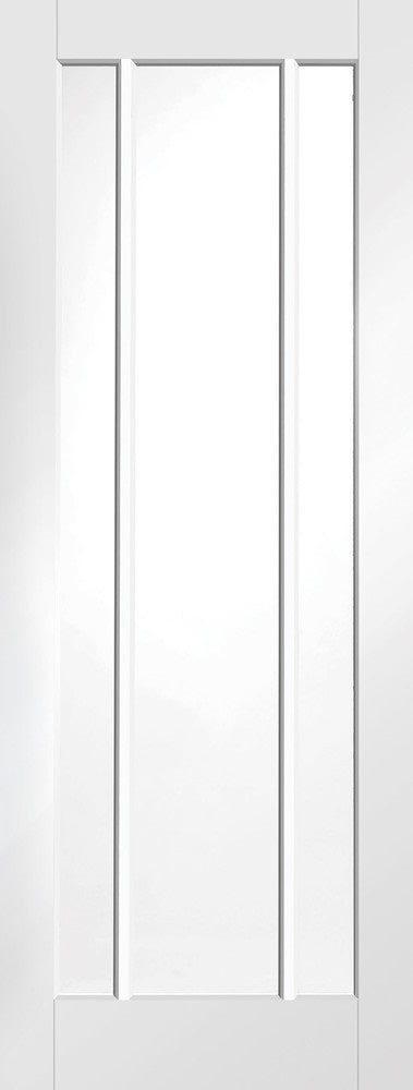 Worcester clear glass white primed fire door,