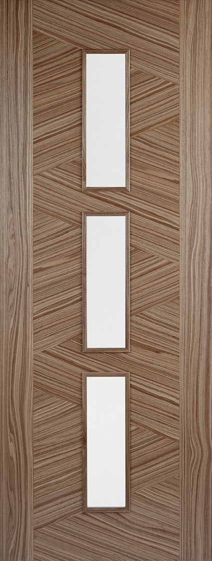 Zeus prefinished Internal walnut door with clear glass.