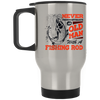 Never Underestimate A Man With A Fishing Rod Silver Stainless Travel Mug
