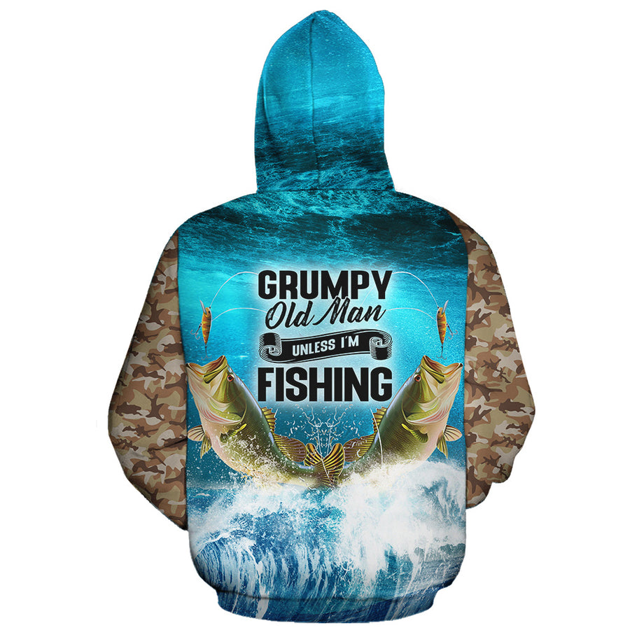 Grumpy Old Man Unless I'm Fishing All Over Hoodie