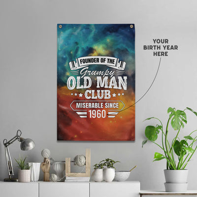 Personalized - Founder Of The Grumpy Old Man Club Wall Flag