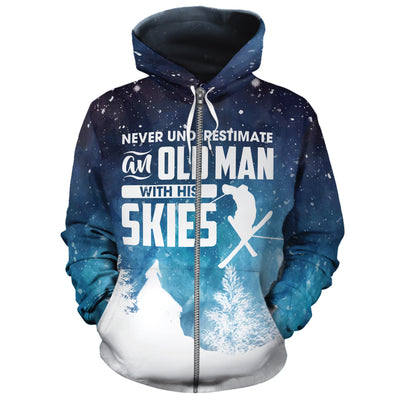 Never Underestimate An Old Man With His Skis All Over Hoodie