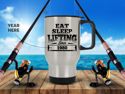Personalized - Eat. Sleep. Fishing Since Silver Stainless Travel Mug