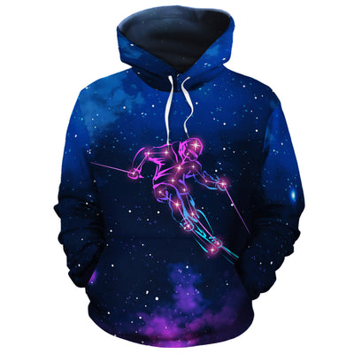 Skiing Constellation All Over Hoodie