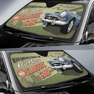 Never Underestimate An Old Man With A Classic Car Auto Sun Shade