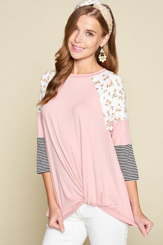 Floral And Striped Color Block Sleeves Tunic Top With Side Twist
