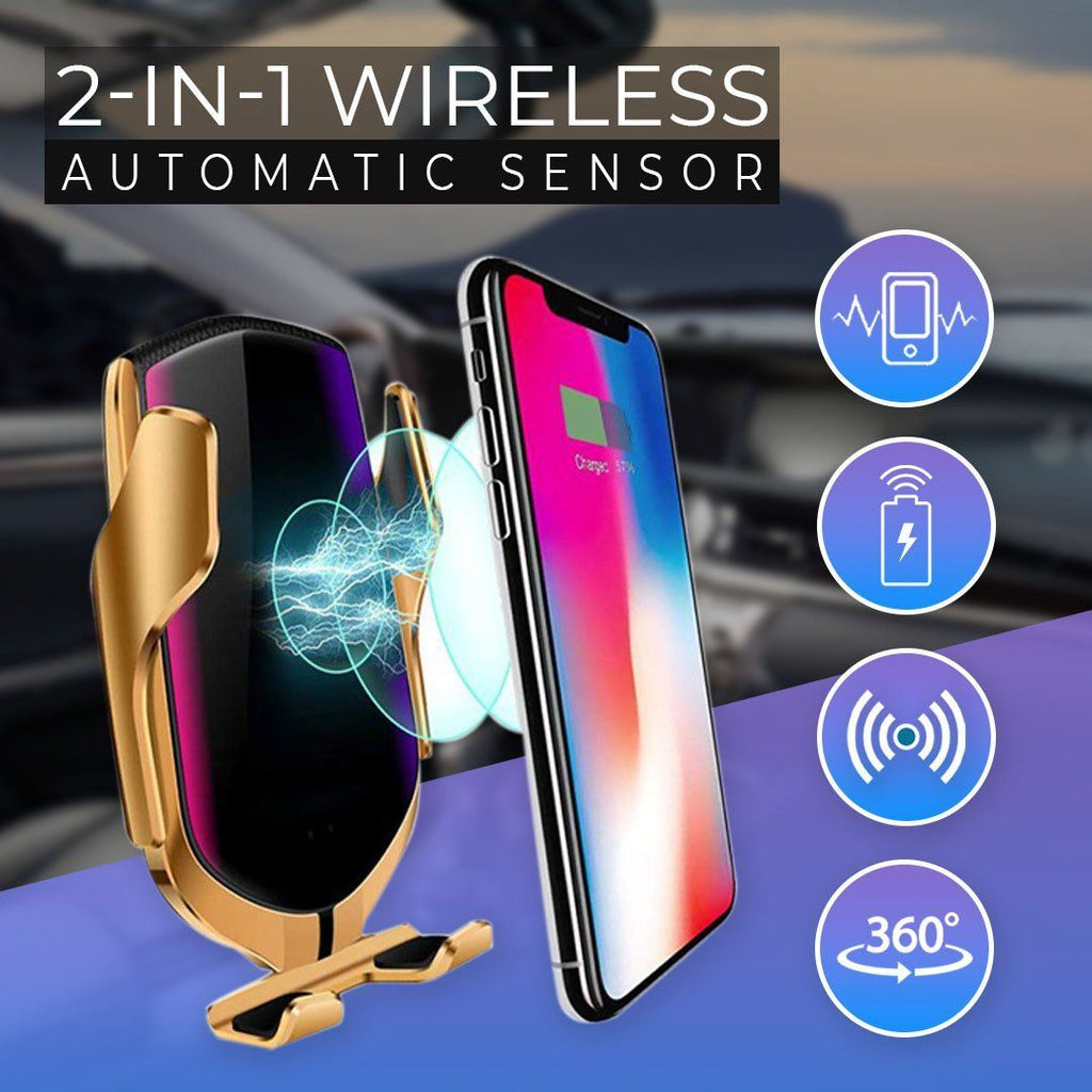2-in-1 Automatic Sensor Wireless Car Charger
