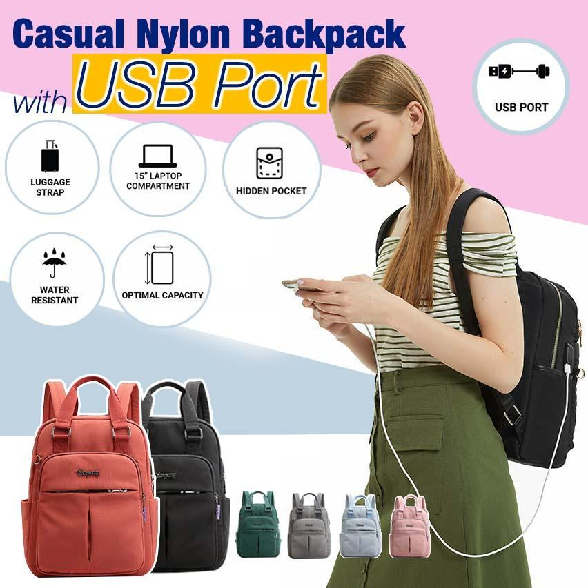 Casual Nylon Backpack with USB Port