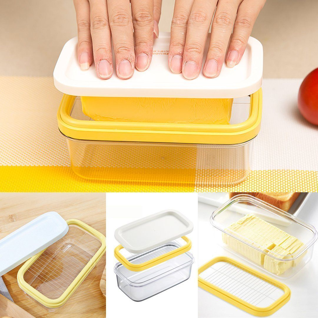 INSTCHEF Butter Cutting Glass Storage Box