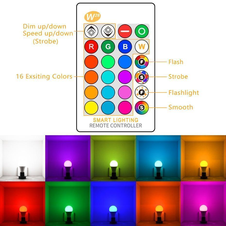 16-Color Changing Magic Light Bulb with IR Remote Control