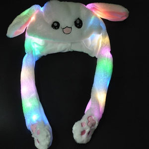 Glowing Plush Jumping Ears Bunny Hat