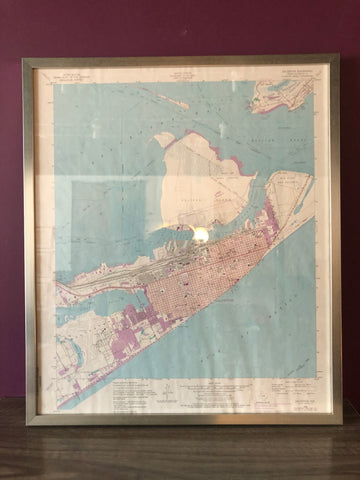 Vintage 1954 Map of Galveston