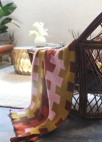 """Harmony"" Recycled Cotton Throw by Happy Habitat"