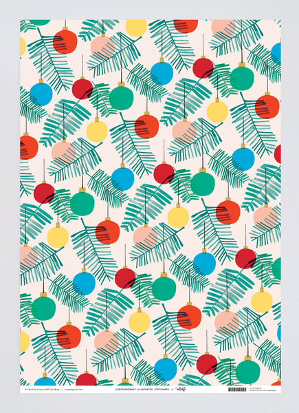"Wrap Magazine ""Holiday Bulbs"" Wrapping Paper - 1 Sheet"