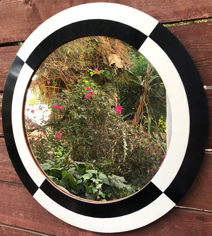 "23"" Black + White Mirror"