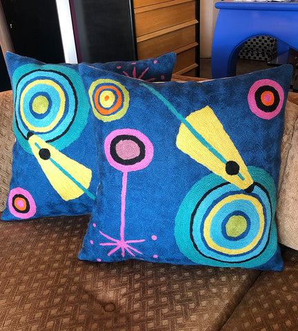 "18"" Kandinsky Inspired Embroidered Pillows - Shapes"