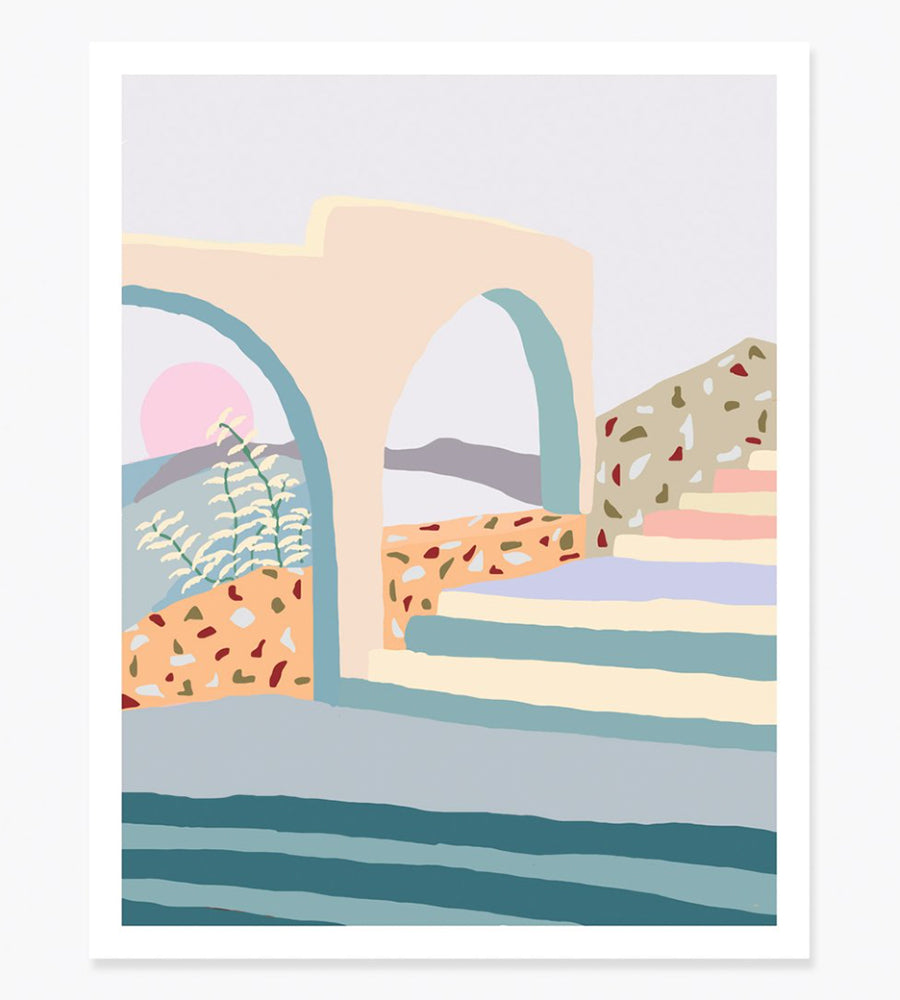 "11 x 14 ""Terrazzo Stairs"" Art Print - Charlie Bennell for Slowdown Studio"