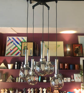 1970's Chrome + Glass Cascading Chandelier by Raak