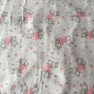 Flannel Bunnies and Hearts Fabric