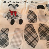 Patches the Bear Stuffed Toy Fabric - Grey
