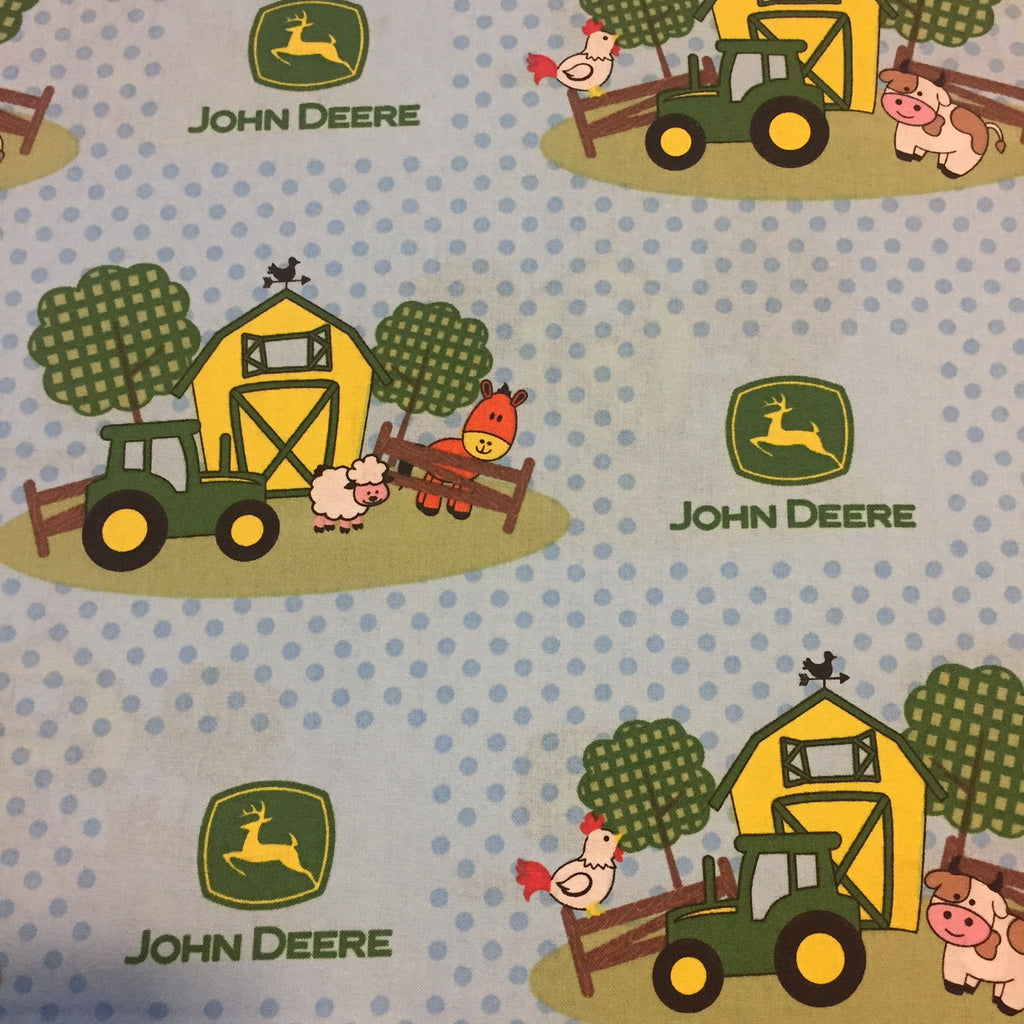 John Deere Tractors and Farm Animals on Light Blue Fabric