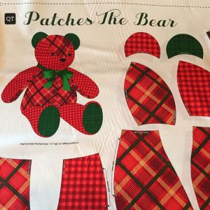Patches the Bear Stuffed Toy Fabric - Red