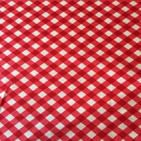 Red and White Gingham Cotton Fabric