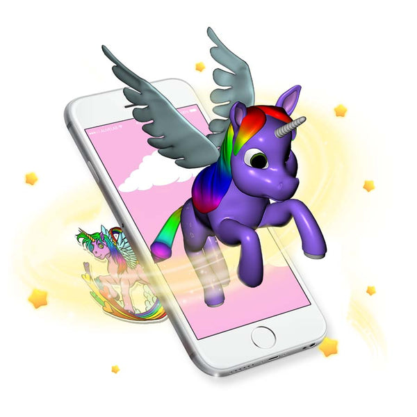 Augmented reality unicorn sticker comes to life
