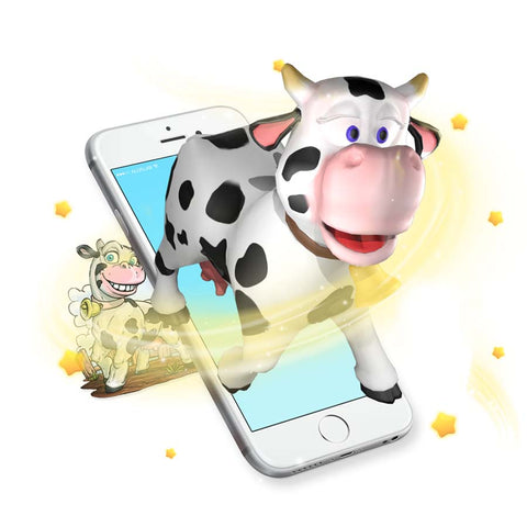 Augmented reality cow sticker comes to life