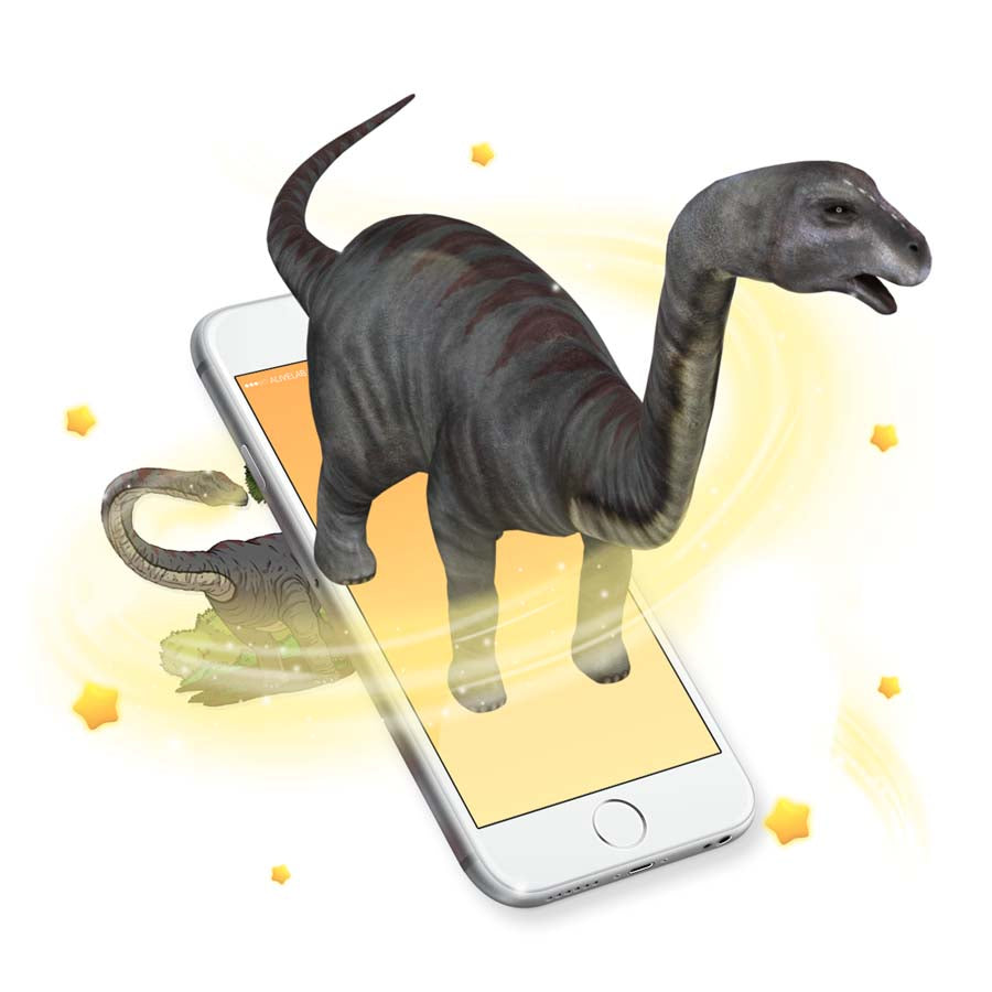 Augmented Reality dinosaur sticker comes to life